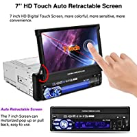 1080P 7Capacitive Auto Touchscreen Car MP5/ MP3/DVD / CD / SD /RM/ Audio /Video Stereo Player IR Remote Control Bluetooth/FM/AM GPS Navigation ,Handsfree with Rear View Camera , with TF/ AUX-in