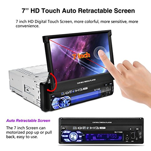 1080P 7''Capacitive AutoTouchscreen Car MP5 Player IR Remote Control Bluetooth/FM/AM GPS Navigation ,Handsfree with Rear View Camera ,Digital Car DVD/CD/MP3 Car Stereo Player with TF/ USB/ AUX-in by Revolveryy