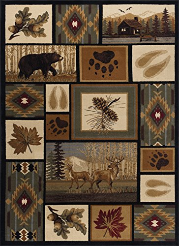 (Northern Wildlife Novelty Lodge Pattern Multi-Color Rectangle Area Rug, 5' x 7')