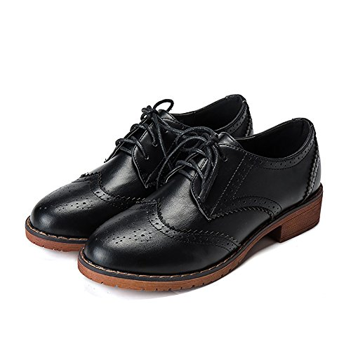 Lace Up Wingtip (Meeshine Women's Perforated Lace-up Wingtip Leather Flat Oxfords Vintage Oxford Shoes Brogues Black Size 7 US)