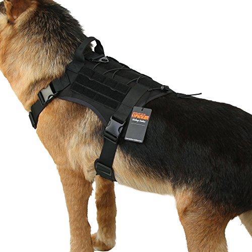 EXCELLENT ELITE SPANKER Tactical Service Dog Vest Military Patrol K9 Dog Harness Nylon Molle Adjustable Dog Vest Harness with Handles(Black-M)