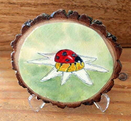 Lady Bug - Painted Wood Round (Mod Ladybug Wall)