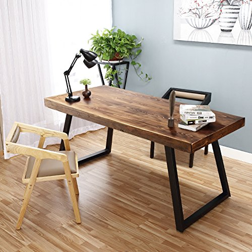Tribesigns 55' Solid Wood Computer Desk Rustic Desks with Heavy-Duty Metal Base, Simple Retro Style Office Desk Workstation (Espresso-Wengue Finish)