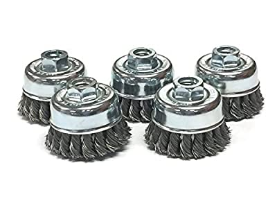 """2-3/4"""" Dia Knot Style Cup Brush - Carbon Steel Wire - 5 Pack"""