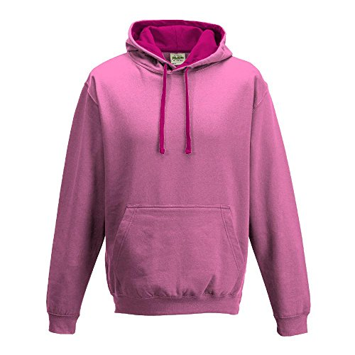 Just Hoods Varsity - Sudadera unisex con capucha, dos colores Candyfloss Pink/Hot Pink