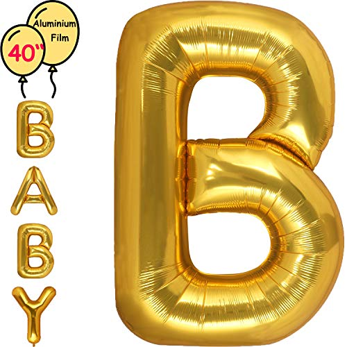 Large 40 Inch Giant Gold Letter Balloon Birthday Party Decorations-Mylar Foil Big Alphabet Helium Balloon ... (Letter B)]()