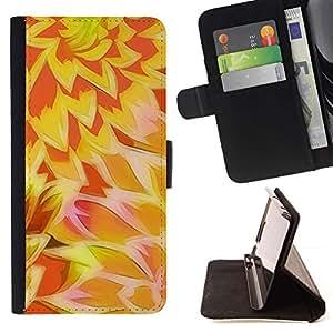 Momo Phone Case / Flip Funda de Cuero Case Cover - Patrón Sun amarillo-naranja - Huawei Ascend P8 Lite (Not for Normal P8)