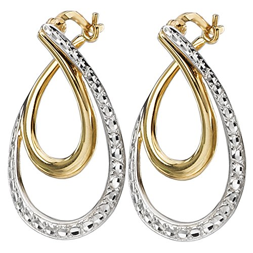Element Clip Earrings (14k Yellow and White Gold Two-Tone Double Twist Dangle Earrings)