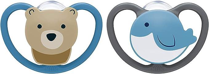 NUK Space chupete | 18-36 meses | Chupetes con ventilación adicional | Silicona sin BPA | Oso y Ballena | 2 unidades: Amazon.es: Bebé