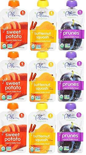 Plum Organics Stage 1 Just Fruit & Veggies Variety Pouch Bundle: (3) Just Sweet Potato 3 oz, (3) Just Prunes 3.5oz, (3) Just Sweet Butternut Squash 3 oz (9 Pack (Plum Potato)