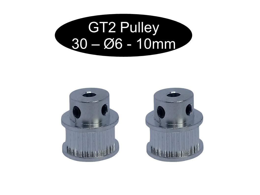 2 poleas GT2 de 10 mm de ancho 1 16 GT2 12Z /Ø5mm 12 polea Pulley seg/ún el ancho a elegir 18 o 20 dientes