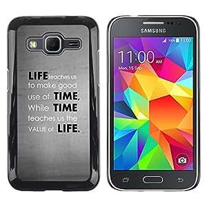 TopCaseStore / la caja del caucho duro de la cubierta de protección de la piel - Deep Message Value Of Life - Samsung Galaxy Core Prime SM-G360