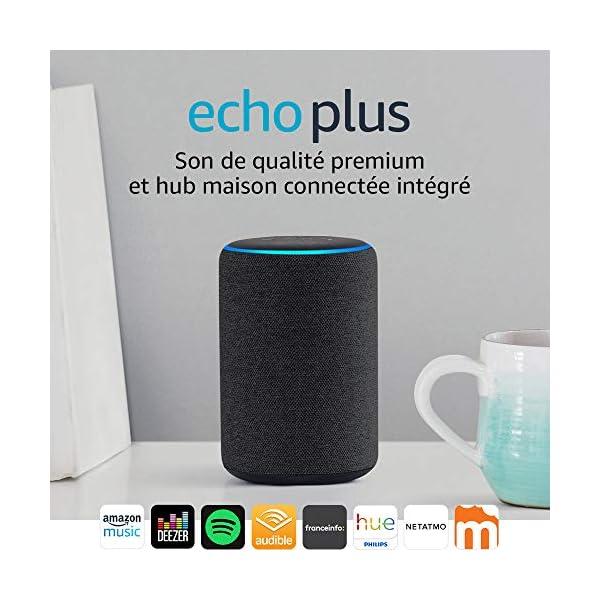 Echo Plus (2ème génération), Son de qualité premium avec un hub maison connectée intégré, Tissu anthracite 1