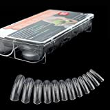 NMKL 312PCS/Box Full Cover Clear Dual Forms Nail System UV Gel Acrylic Nail Mold Artificial Nail Tips with Scale 12 Size