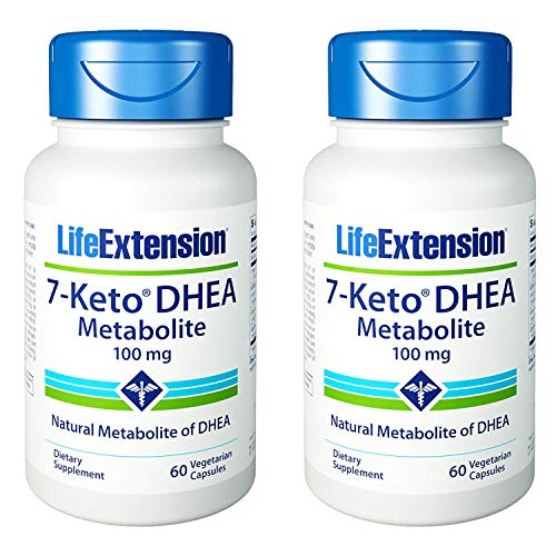 Life Extension 7- Keto DHEA Metabolite, 60 Vcaps 100 mg(Pack of 2)