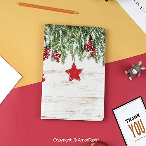Case for Samsung Galaxy Tab S3 9.7 T820 T825 Slim Folding Stand Cover PU Case,Christmas,Noel Tree Branches Over Timber Board with Handmade Toy Figures and Berries Image,Beige Red