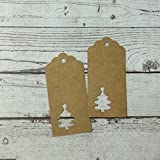100 PCS Kraft Paper Christmas Tree Hang Gift Tags 9.5x4.5cm, with FREE Jute Twine String 20 Meters for Crafts, wedding, Fete, Price Labels & FREE Roll Tape by JCT ECO