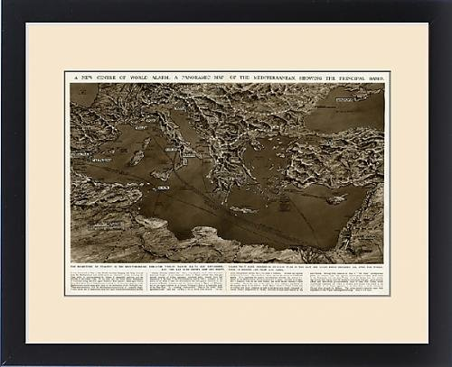 Framed Print of Panoramic map of Mediterranean by G. H. Davis by Prints Prints Prints