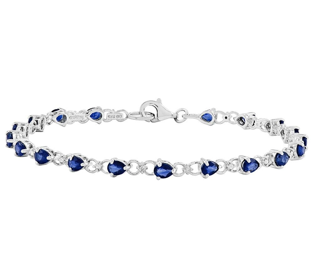 2heart 14K White Gold Plated Teardrop-Shaped Blue Sapphire & CZ Tennis Bracelet by 2heart (Image #1)