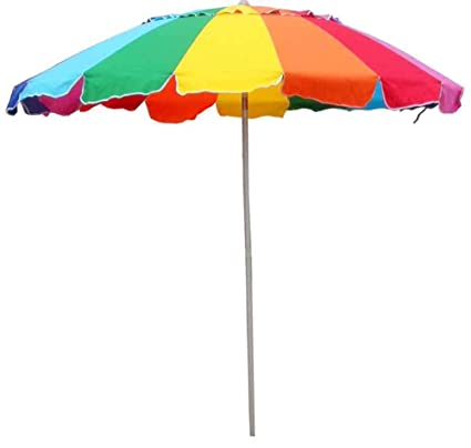 Beach Umbrella Rainbow Color with Carry Bag - 8 Foot