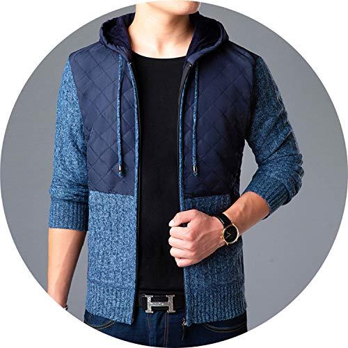 I'll NEVER BE HER 2019 Men Hooded Sweater Thicker Warm Long Sleeve Zipper Kint Jacket Casual Wool,Blue,XXXL