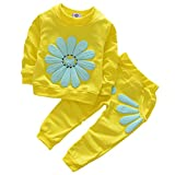 Toddler Baby Girls Sunflower Clothes Set Long Sleeve Top and Pants 2pcs Outfits Fall Clothes (Age(4T), Yellow)