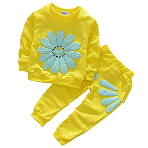Toddler Baby Girls Sunflower Clothes Set Long Sleeve Top and Pants 2pcs Outfits Fall Clothes (Age(1T), Yellow)