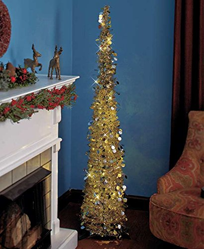 Affordable, Collapsible 65 Lighted Christmas Trees in Gold/Silver for Small Spaces with Timer