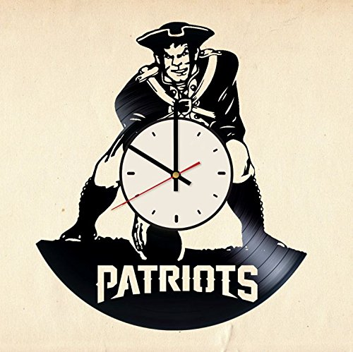 New England Patriots Vinyl Wall Clock Football Unique Gifts Living Room Home Decor
