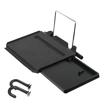 Escritorio EJiaen portátil y plegable para coche, multifuncional, bandeja con ranura para iPad, soportes para volante y asiento de coche, con orificio para ...