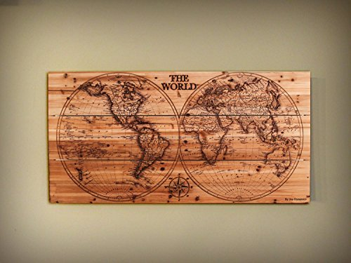 Joe&Lee Classy Laser Engraved Wooden World Map | Graphic Wall Art Home Wall Decor | Room Office Wall Art | Rustic Vintage Farmhouse Style decorations | Travel Push Pin Map | Perfect Artwork Gift Idea by Joe&Lee (Image #1)