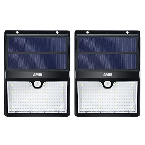 AMIR Solar Lights, 16 LED Solar Motion Sensor Light, Wireless Garden Security Light, Outdoor Solar Wall Light for Patio Deck, Yard, Garden, Driveway - Waterproof Security,Pack of 2