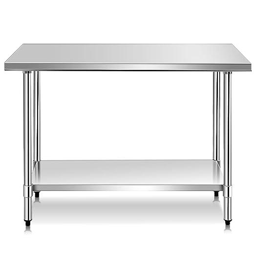 Amazon.com: Mesa de trabajo de cocina de acero inoxidable ...