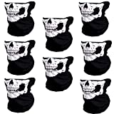 #10: CIKIShield Seamless Skull Face Mask Bandana Motorcycle Face Masks Skeleton Face Shield (8pcs-white)