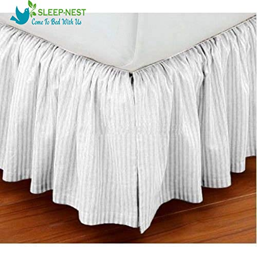 (Sleep-Nest Hotel Quality 600 TC Natural Cotton Twin XL Size 1-Pcs Split Corner Dust Ruffle Bed Skirt 32 Inch Drop Length Easy Fit, Wrinkle & Fade Resistant, White Striped )