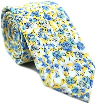 DAZI Men's Skinny Tie Floral Print Cotton Necktie, Great for Weddings, Groom, Groomsmen, Missions, Dances, Gifts.