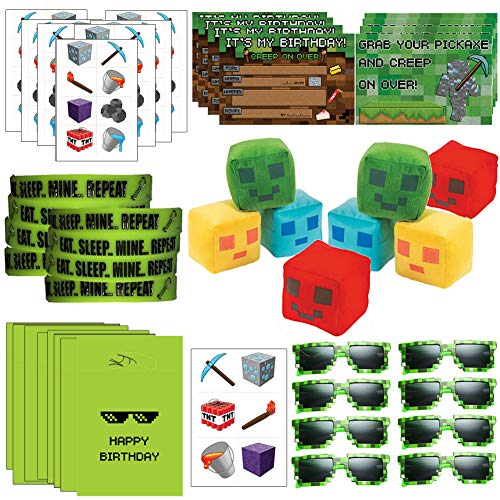 Pixelated Party Supplies & Favors w/Goodie Bags.The Ultimate Minecraft Inspired Party Favor Set Includes: Pixel Glasses for Kids, Pixel Plush Toy, Wristbands, Tattoos, Miner Stickers (8)]()