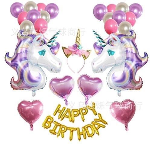 Tmrow 1set Unicorn Party Supplies and Decorations Set - With Glitter Unicorn Headband Unicorn Balloons Gold Happy Birthday Banner Latex & Foil Balloons Unicorn Theme Decor Pack by Tmrow