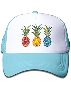 Kids Three Pineapples Adjustable Travel Caps Black