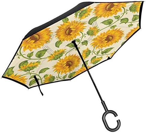 ひまわり 逆さ傘 逆折り式傘 車用傘 耐風 撥水 遮光遮熱 大きい 手離れC型手元 梅雨 紫外線対策 晴雨兼用 ビジネス用 車用 UVカット