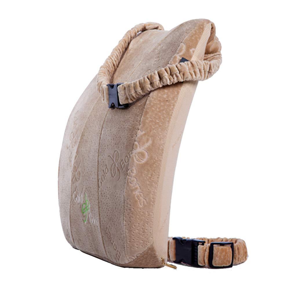 LIQICAI クッション 背もたれ メモリフォーム ソフトでしかもしっかりした 腰痛を緩和する 整形外科 洗えるカバー ダブルショルダーストラップ (色 : Brown, サイズ さいず : 35x43x10cm) B07L1S4RZW Brown 35x43x10cm
