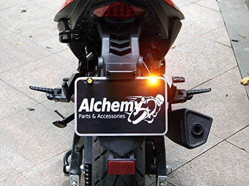 Black LED Licence Number Plate Lights with Integrated Super Bright Indicators Turn Signals