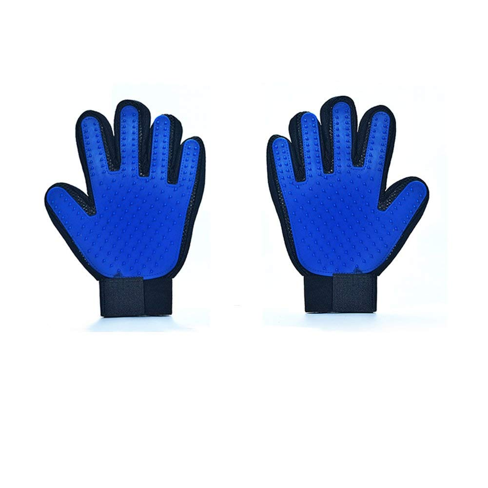 Chongwushua Pet Grooming Glove, Pet Hair Removal Mitts Massage Brush Tool with Adjustable Wrist Strap for All Short and Long Hair Pets (Color : Blue, Size : A Pair)