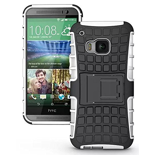 TCD for HTC ONE M9 Hybrid [WHITE] Grenade Armor Case Dual Layer [Hard TPU & Soft Silicone Mix] Shock Proof Good Grip Protective Case Multi Purpose Protection and Kickstand - White Ht Trim