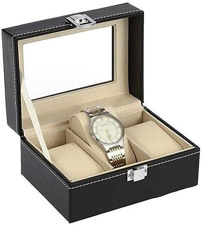 QXTT Caja para Relojes con 3 Compartimentos Estuche Regalo Caja Joyas Organizador con Tapa De Cristal Negro De Piel Sintética para Relojes Y Joyeros: Amazon.es: Hogar