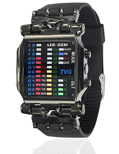 Cool Creative Funky Fashion Watch Black Men Boys PU Rubber Band Colorful LED Date Day Binary Digital Clock Casual Gift - Watches For Men Binary
