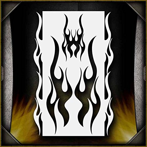 Flames 6 AirSick Airbrush Stencil Art Design Template - Reusable Spray Painting Patterns for Cars, Motorcycle, Tatoos, etc ()