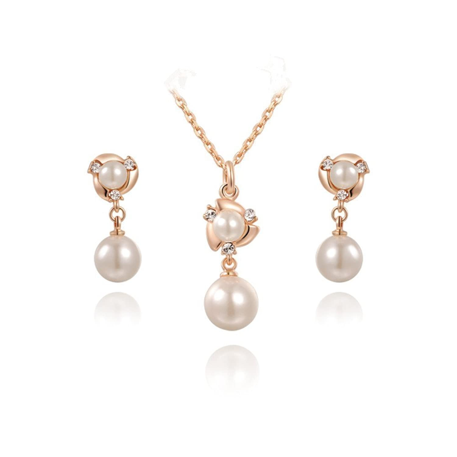 Rose Pearl Earring and Necklac...