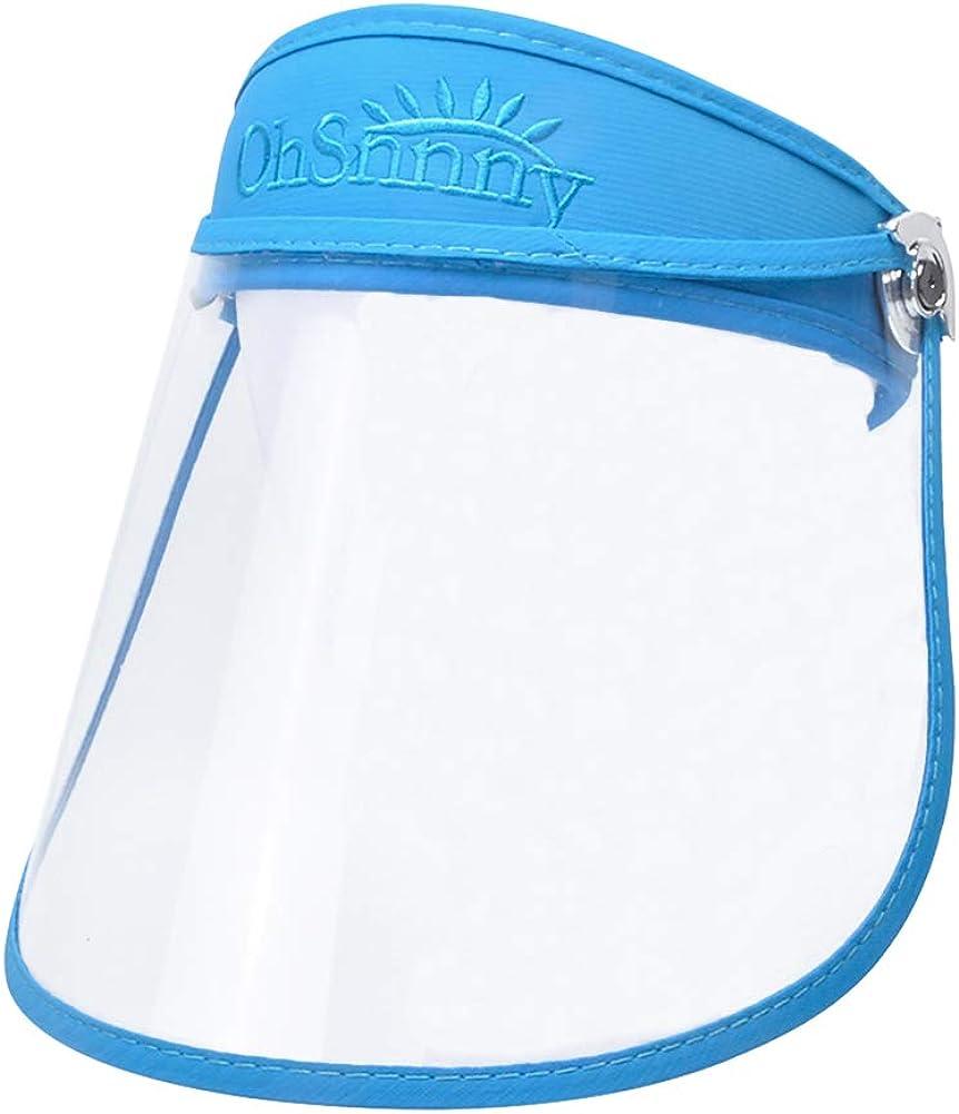 Panegy - Visera Protectora de Cara Sombrero Transparente con Visera Prueba de Sapicaduras Escudo de Protección de Cara para Hombre Mujer Antivaho Ajustable Protector Facial Completa