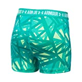 Under Armour Girls' HeatGear Armour Printed 3'' Shorty,Summer Lime /White, Youth Large
